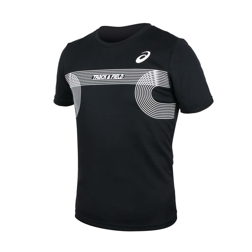ASICS 男田徑短袖T恤-附轉印貼-亞規 吸濕排汗 上衣 亞瑟士 黑白@2091A384-001@