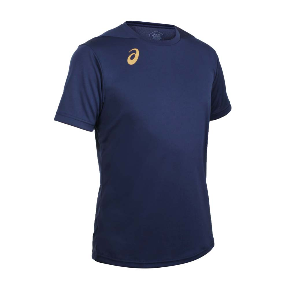 ASICS 男排羽球短袖T恤-排球 羽毛球 運動 吸濕排汗 上衣 亞瑟士 丈青金@2051A270-400@