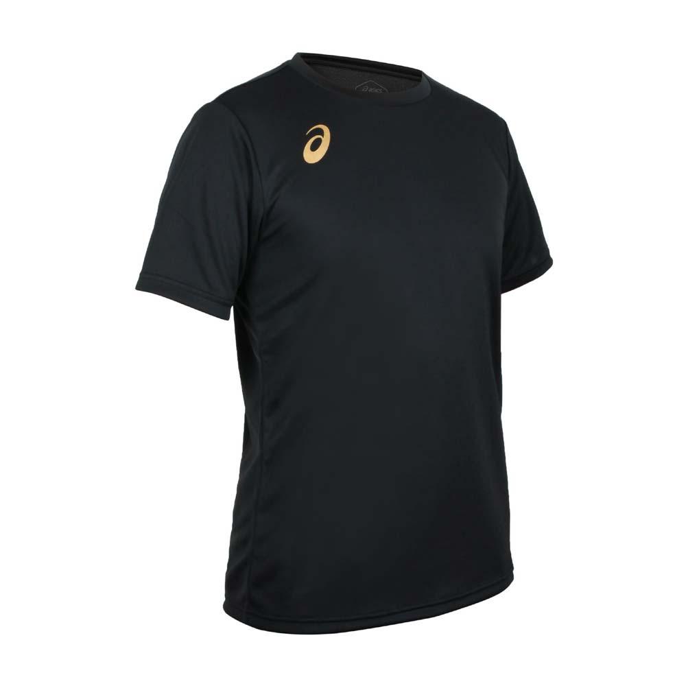 ASICS 男排羽球短袖T恤-排球 羽毛球 運動 吸濕排汗 上衣 亞瑟士 黑金@2051A271-002@