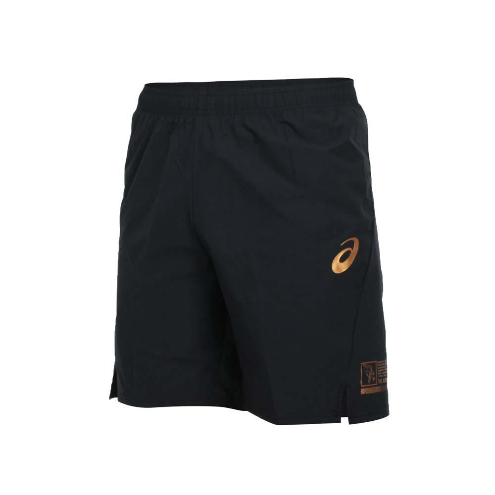 ASICS 男排球短褲-平織 五分褲 運動 慢跑 路跑 亞瑟士 黑金@2051A265-001@