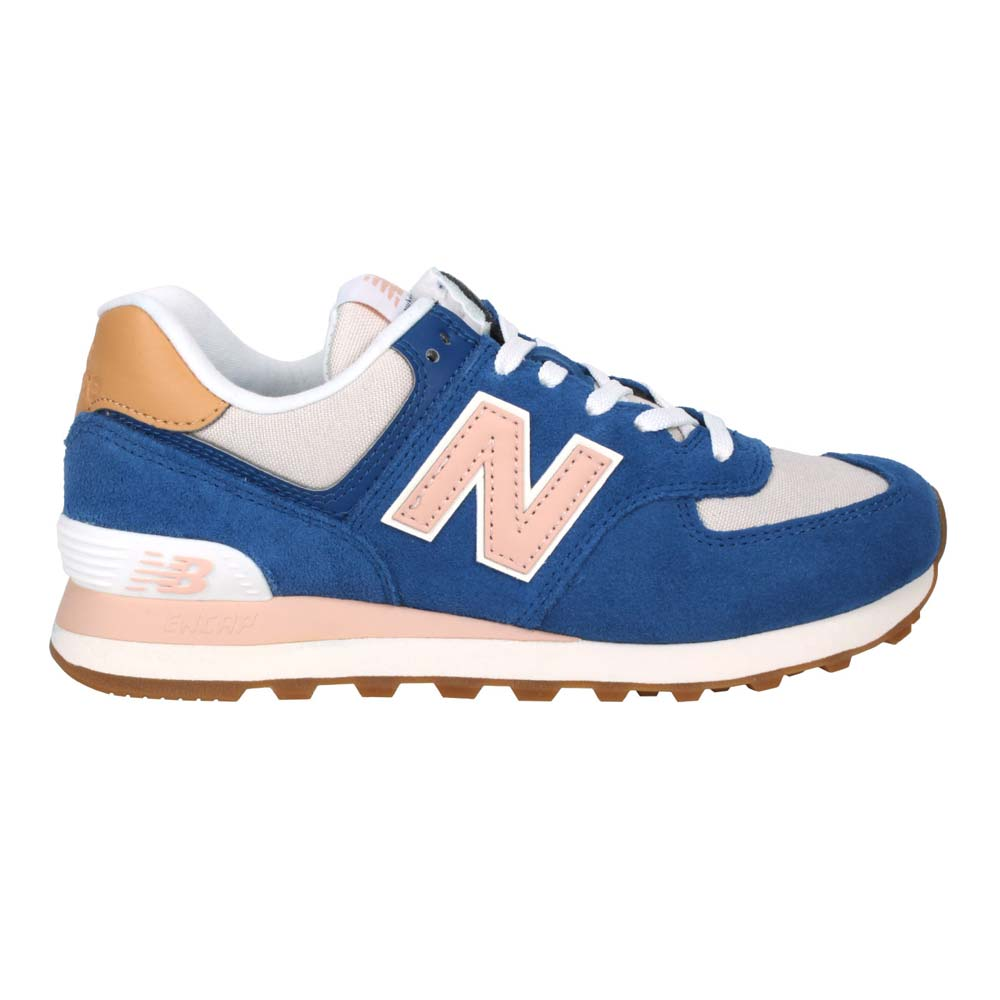 NEWBALANCE 女運動休閒鞋-慢跑 麂皮 574系列 N字鞋 NB 藍粉棕@WL574NU2@