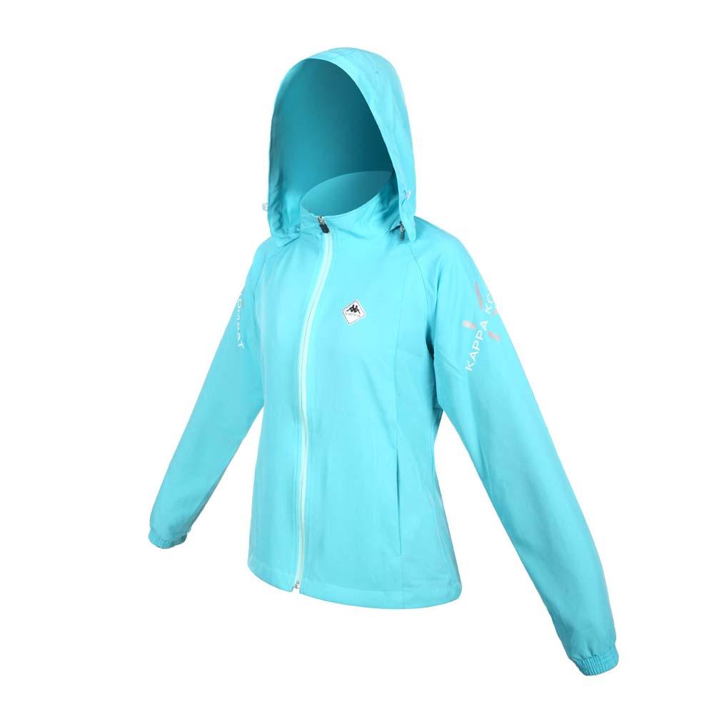KAPPA 女K4T單層風衣- 防風 連帽外套 慢跑 路跑 上衣 運動 反光 湖水藍綠@37168PW-474@