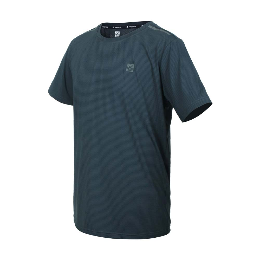 FIRESTAR 男彈性機能圓領短袖T恤-運動 慢跑 路跑 上衣 涼感 反光 灰綠銀@D1732-16@