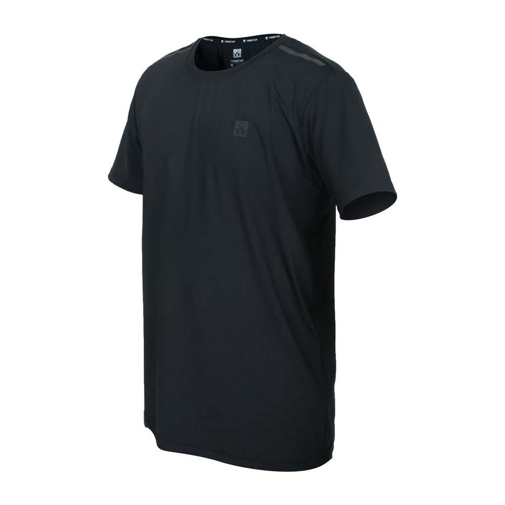 FIRESTAR 男彈性機能圓領短袖T恤-運動 慢跑 路跑 上衣 涼感 反光 黑灰@D1732-10@