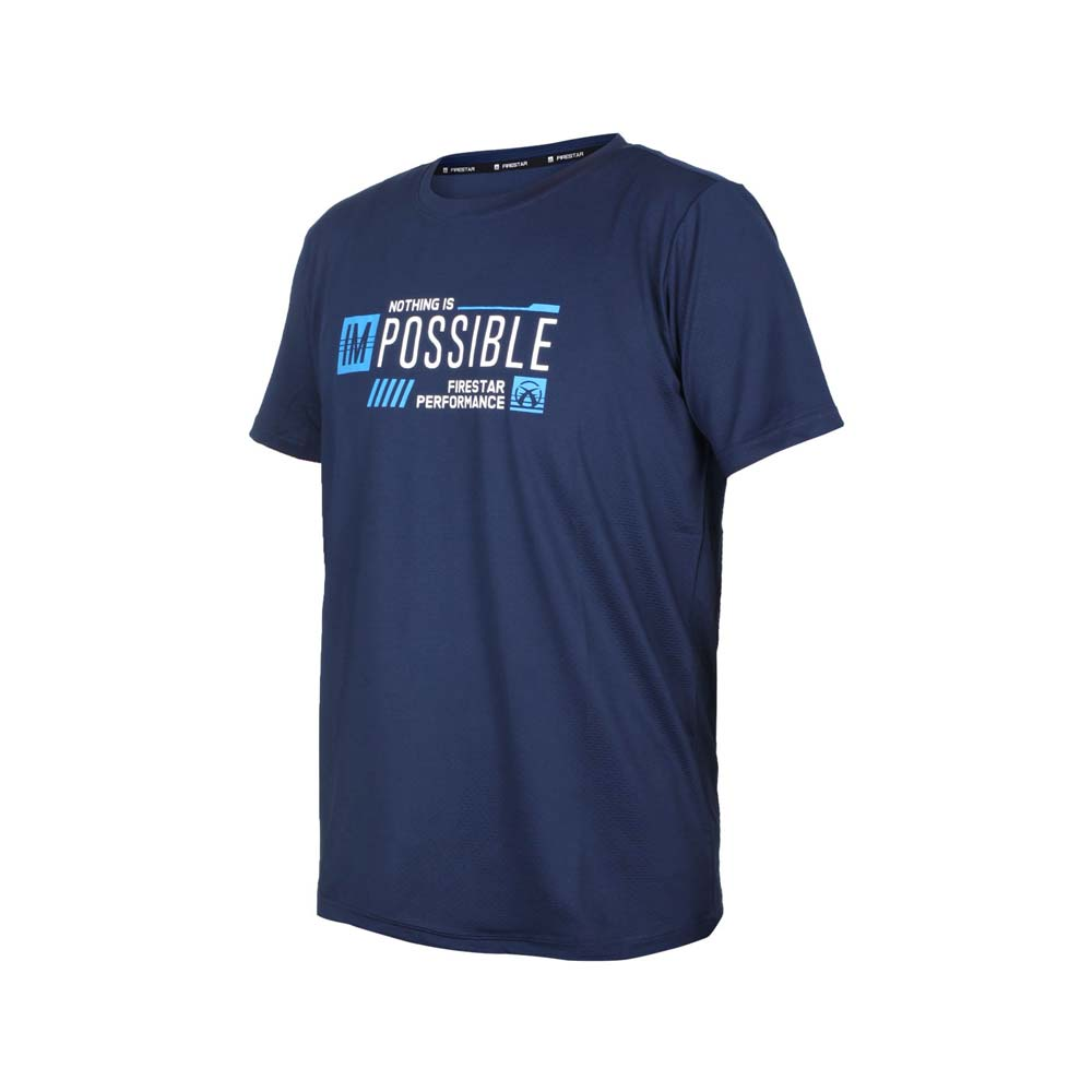 FIRESTAR 男彈性印花圓領短袖T恤-運動 慢跑 路跑 上衣 吸濕排汗 丈青藍白@D1730-93@