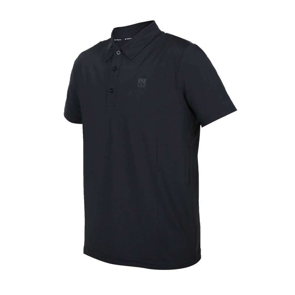 FIRESTAR 男彈性機能短袖POLO衫-運動 慢跑 路跑 上衣 涼感 高爾夫 反光 黑@D1751-10@