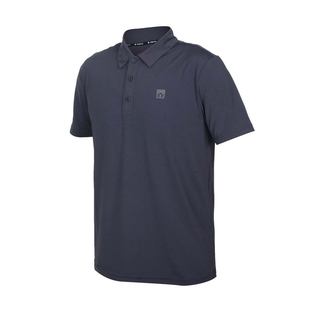 FIRESTAR 男彈性機能短袖POLO衫-運動 慢跑 路跑 上衣 涼感 高爾夫 反光 深灰@D1751-15@