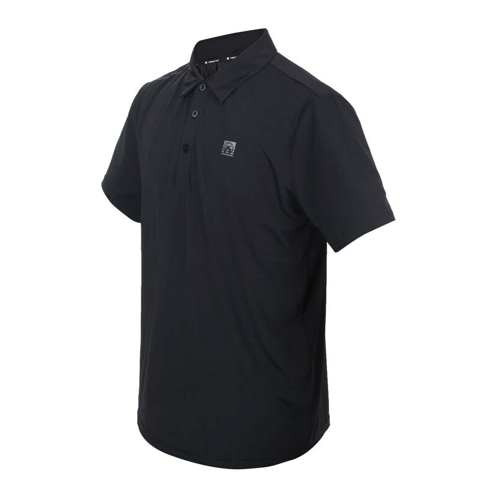 FIRESTAR 男彈性高爾夫短袖POLO衫-運動 慢跑 路跑 上衣 涼感 網球 反光 黑銀@D1752-10@