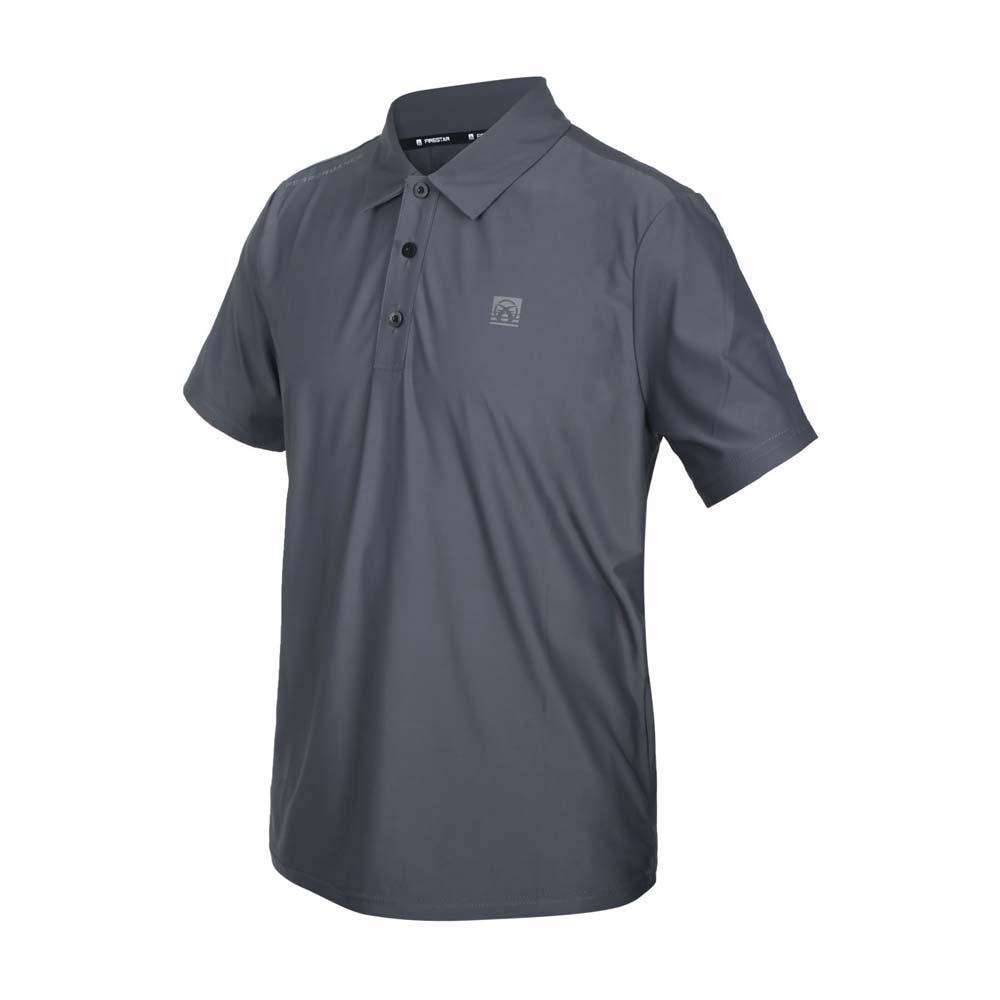 FIRESTAR 男彈性高爾夫短袖POLO衫-運動 慢跑 路跑 上衣 涼感 網球 反光 深灰銀@D1752-15@