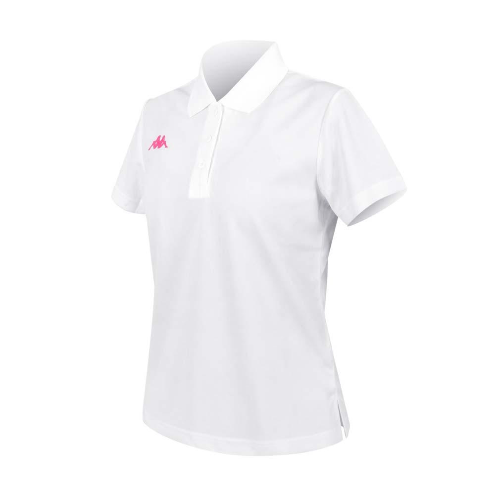 KAPPA 女K4T短袖POLO衫-台灣製 慢跑 高爾夫 網球 吸濕排汗 上衣 白桃紅@321763W-001@