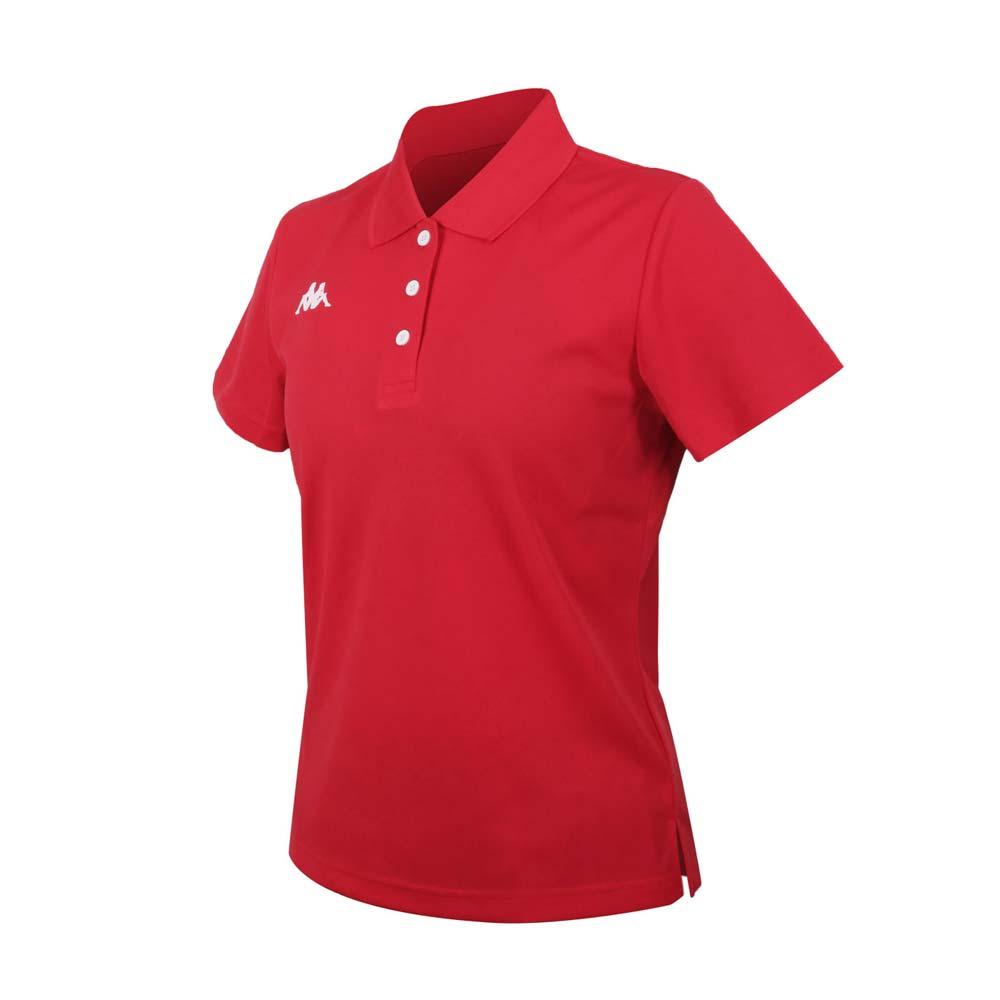 KAPPA 女K4T短袖POLO衫-台灣製 慢跑 高爾夫 網球 吸濕排汗 上衣 紅白@321763W-D18@