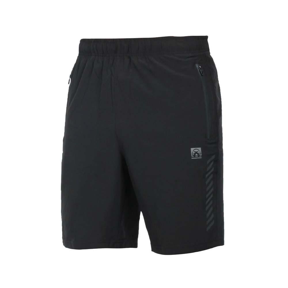 FIRESTAR 男彈性平織短褲-五分褲 運動 慢跑 路跑 反光 黑@C1716-10@