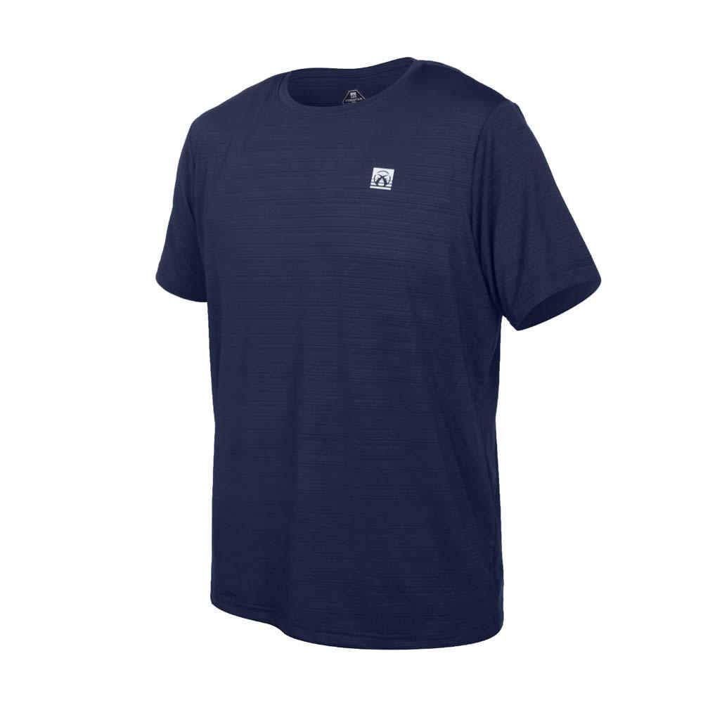 FIRESTAR 男彈性機能短袖圓領T恤-慢跑 路跑 涼感 運動 上衣 丈青銀@D1733-93@