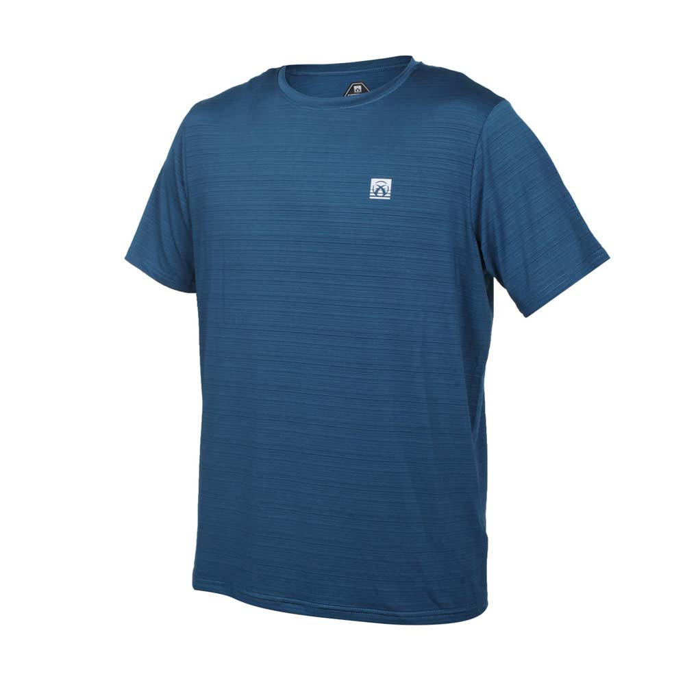 FIRESTAR 男彈性機能短袖圓領T恤-慢跑 路跑 涼感 運動 上衣 墨藍銀@D1733-97@