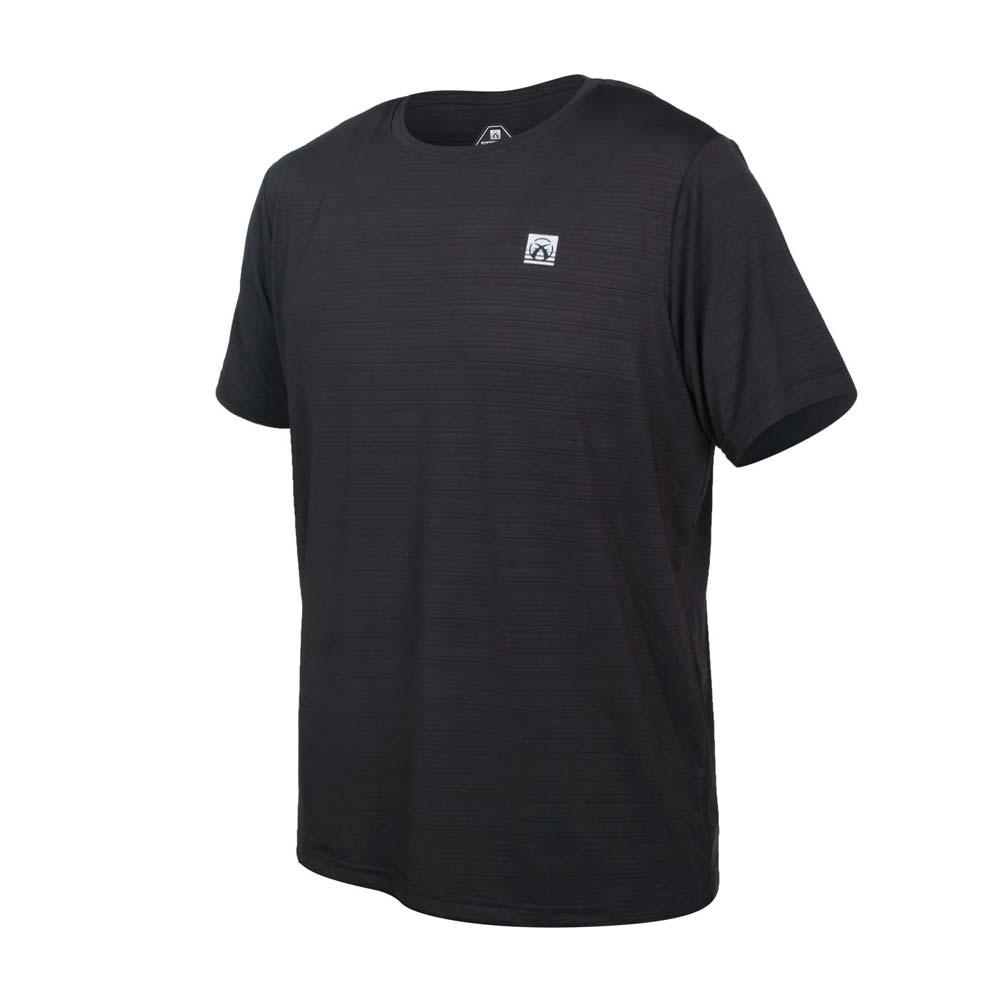 FIRESTAR 男彈性機能短袖圓領T恤-慢跑 路跑 涼感 運動 上衣 黑銀@D1733-10@