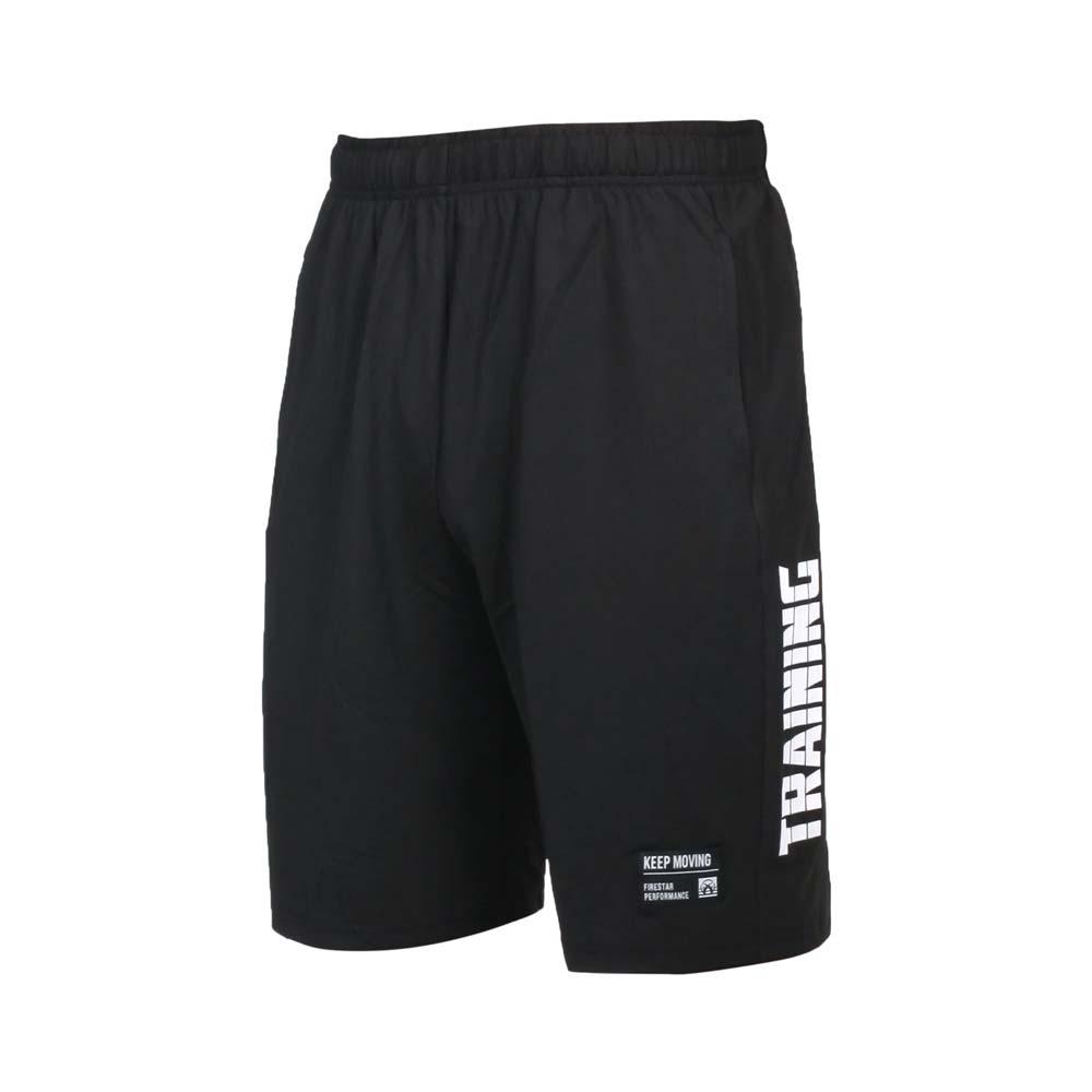 FIRESTAR 男彈性訓練籃球短褲-五分褲 運動 慢跑 路跑 吸濕排汗 針織 黑白@B1703-20@