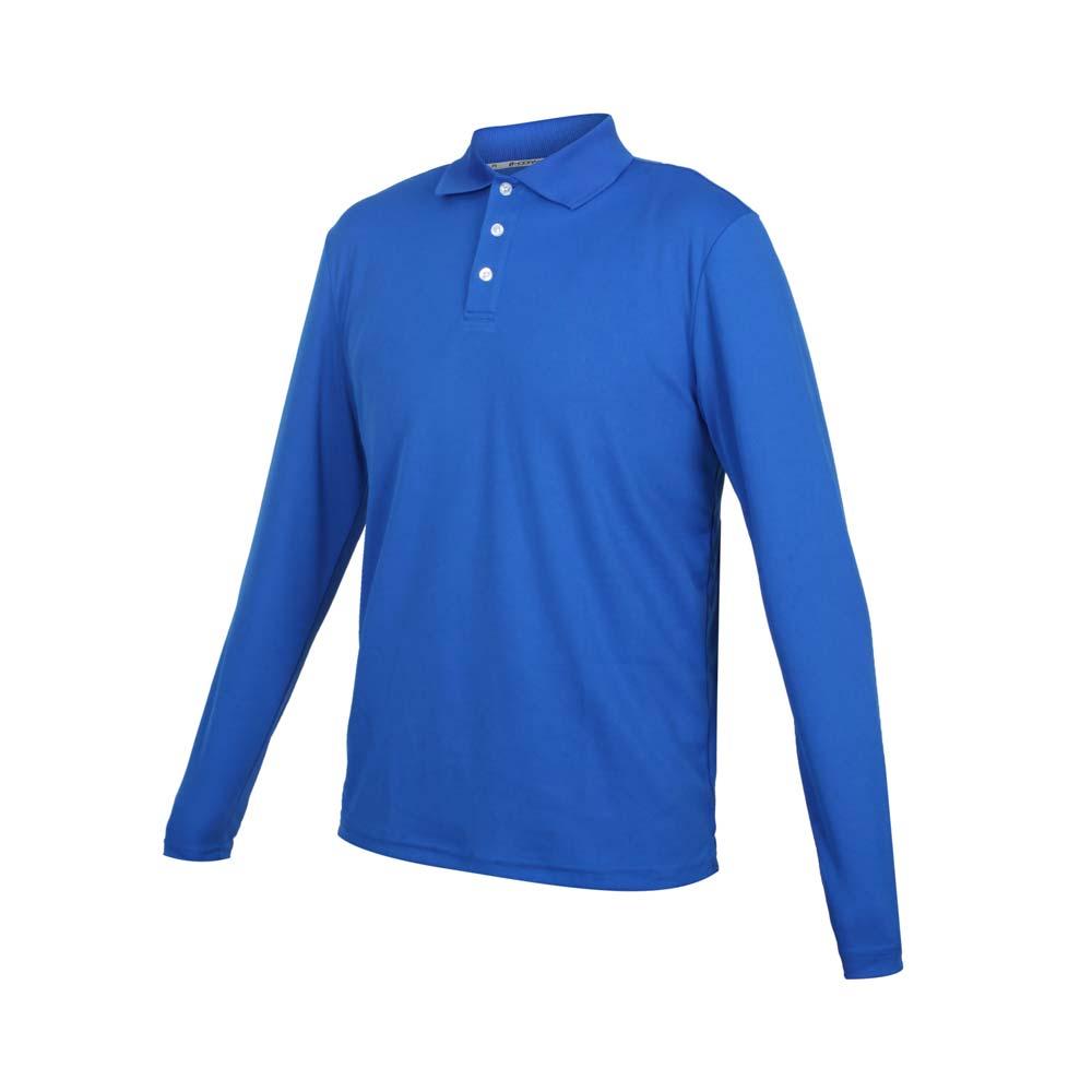 HODARLA 男女星際吸濕排汗長袖POLO衫-台灣製 慢跑 休閒 上衣 高爾夫 藍@3161303@