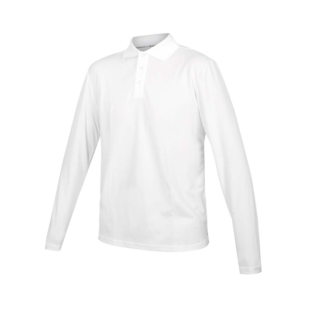 HODARLA 男女星際吸濕排汗長袖POLO衫-台灣製 慢跑 休閒 上衣 高爾夫 白@3161305@