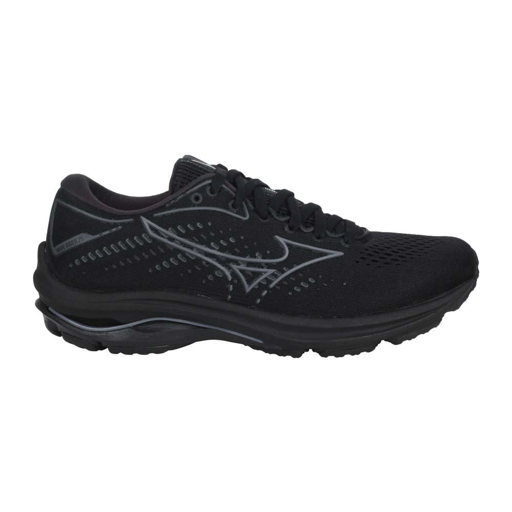 MIZUNO WAVE RIDER 25 女慢跑鞋-路跑 運動 避震 美津濃 黑灰@J1GD210335@