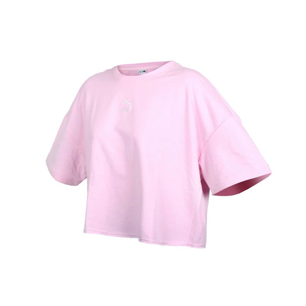 PUMA 女不收邊短袖T恤-歐規 休閒 寬版 上衣 圈毛 粉紅白@53253985@