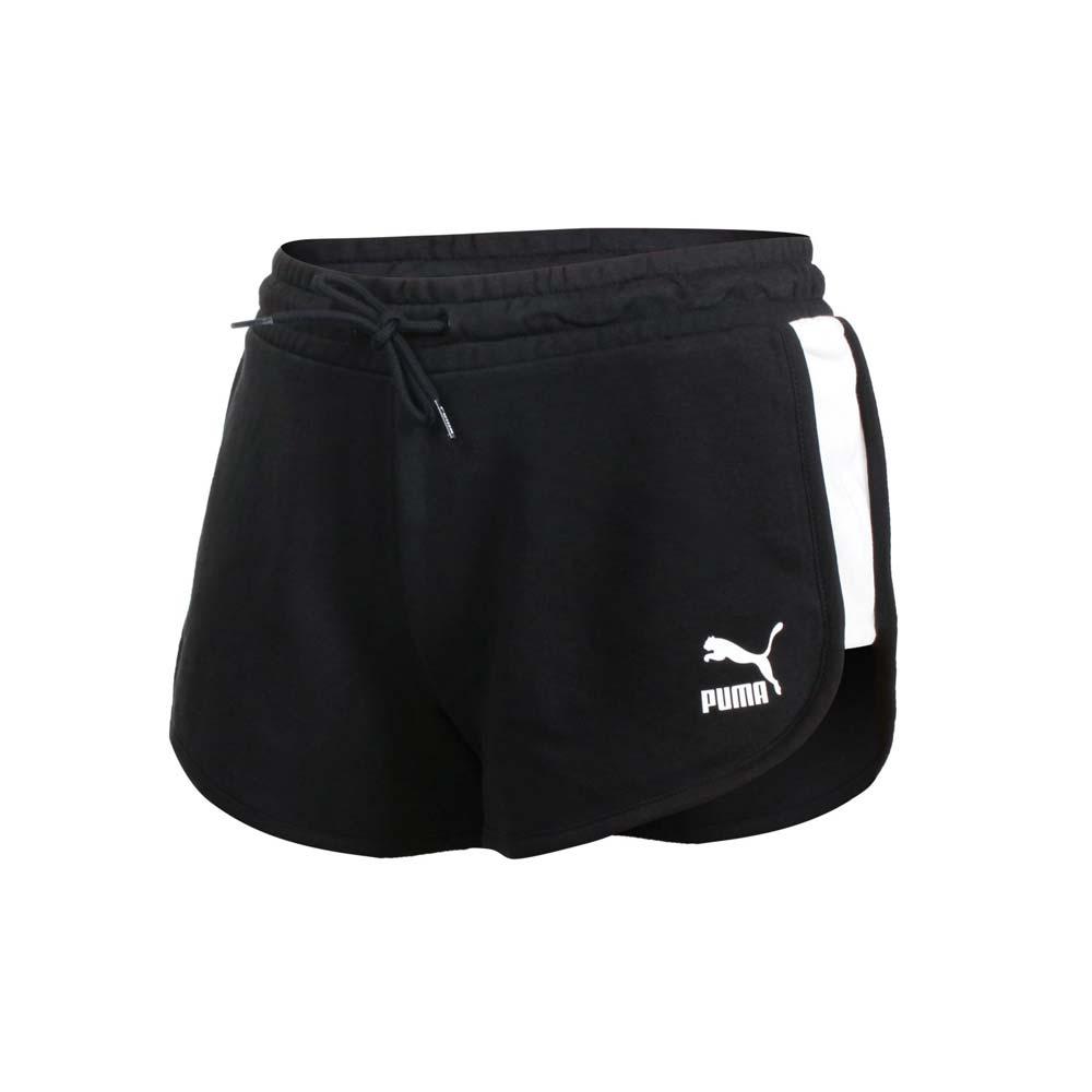 PUMA 女流行系列T7短褲-歐規 三分褲 慢跑 路跑 圈毛 針織 真理褲 黑白@53023701@
