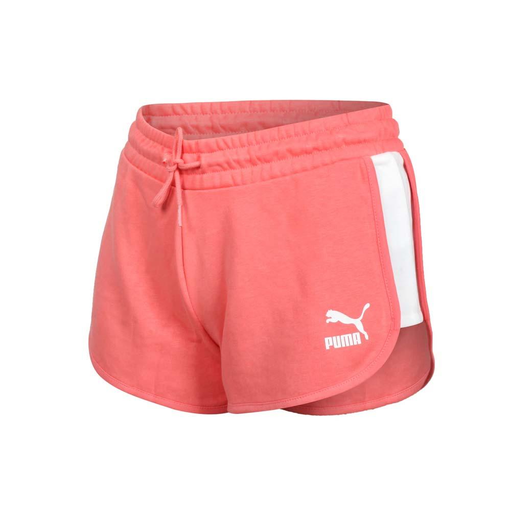 PUMA 女流行系列T7短褲-歐規 三分褲 慢跑 路跑 圈毛 針織 真理褲 珊瑚橘白@53023724@