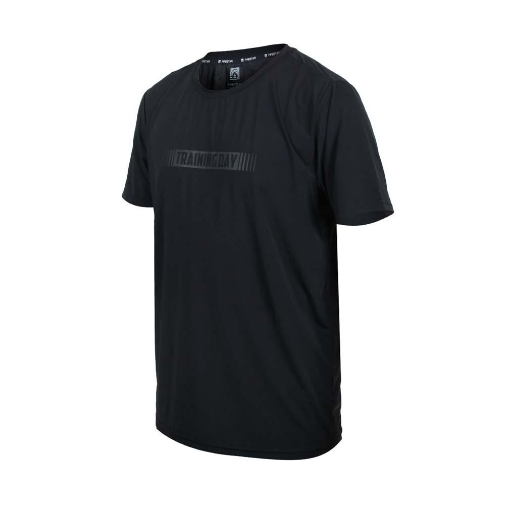 FIRESTAR 男彈性印花圓領短袖T恤-慢跑 路跑 涼感 上衣 反光 黑灰@D1737-10@