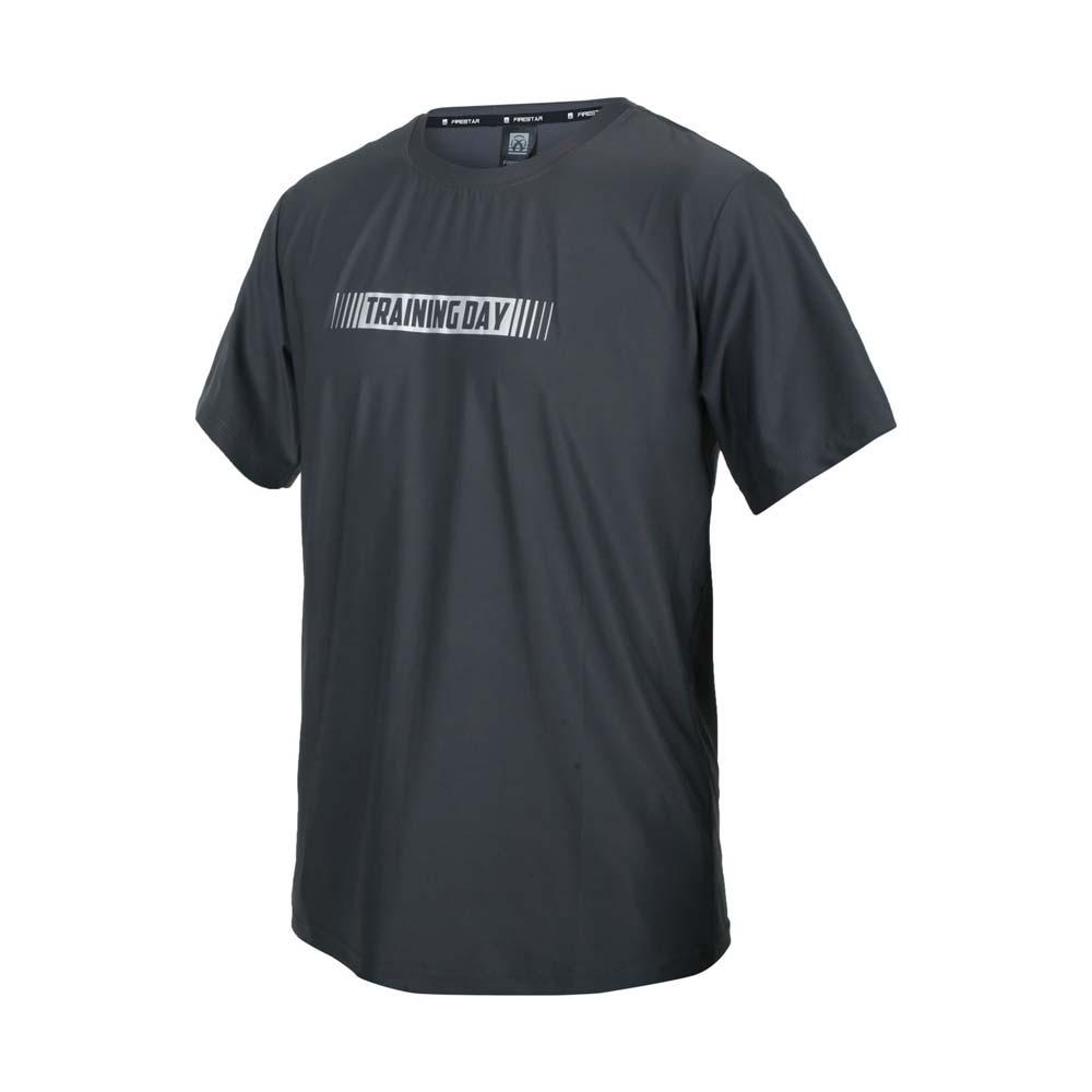 FIRESTAR 男彈性印花圓領短袖T恤-慢跑 路跑 涼感 上衣 反光 灰銀@D1737-15@