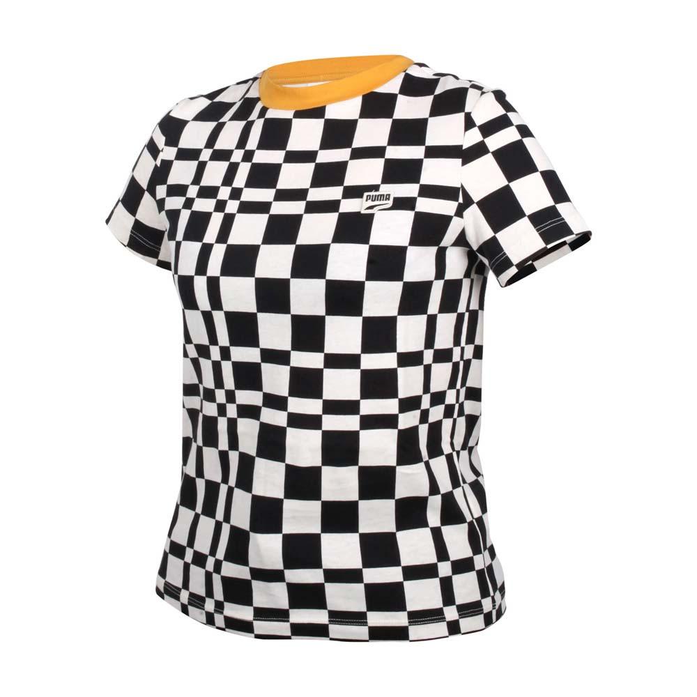 PUMA 女流行系列DOWNTOWN格紋短袖T恤-歐規 純棉 休閒 上衣 黑米白格黃@53167701@