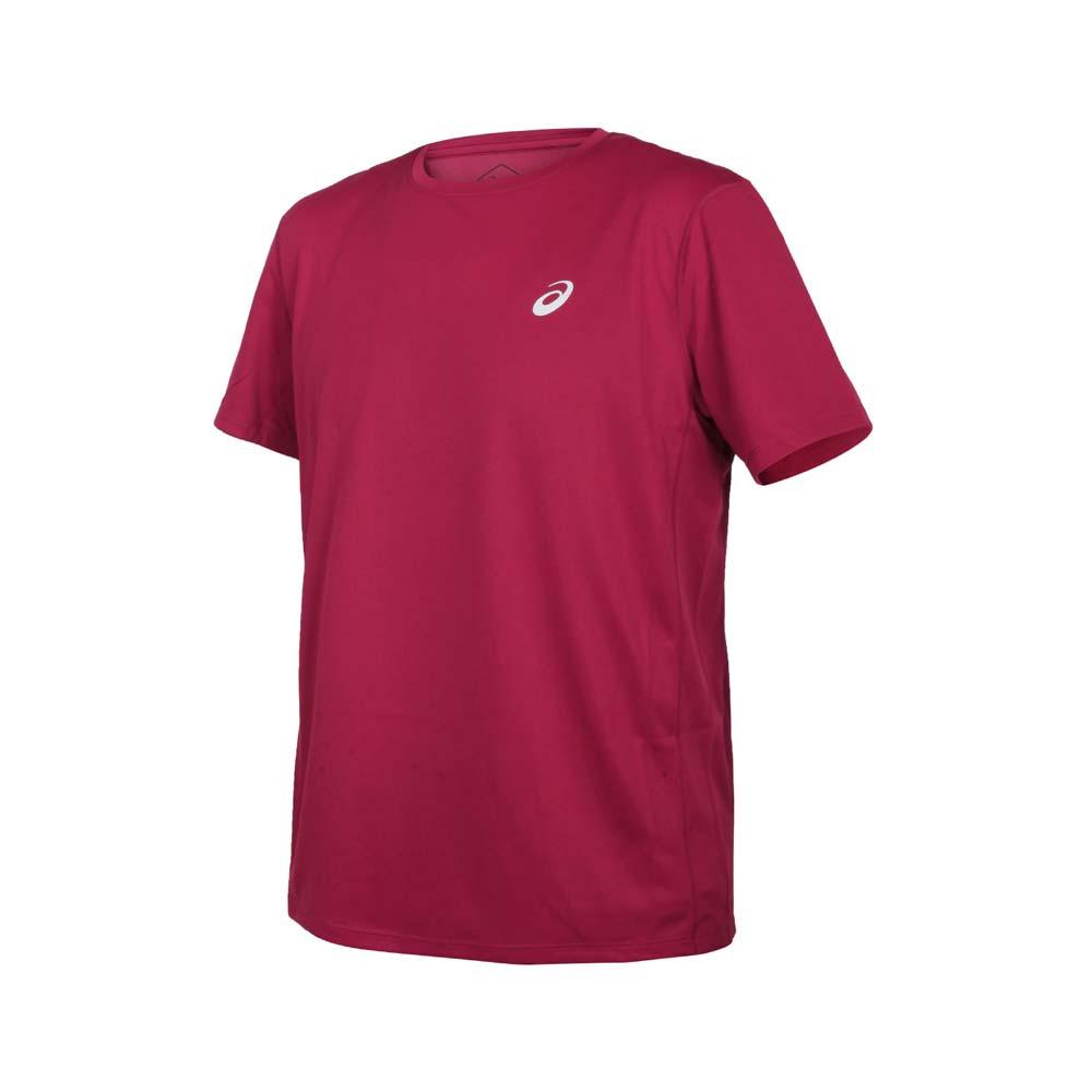 ASICS 男片假名短袖T恤-吸濕排汗 運動 上衣 慢跑 反光 亞瑟士 酒紅銀@2011A813-602@