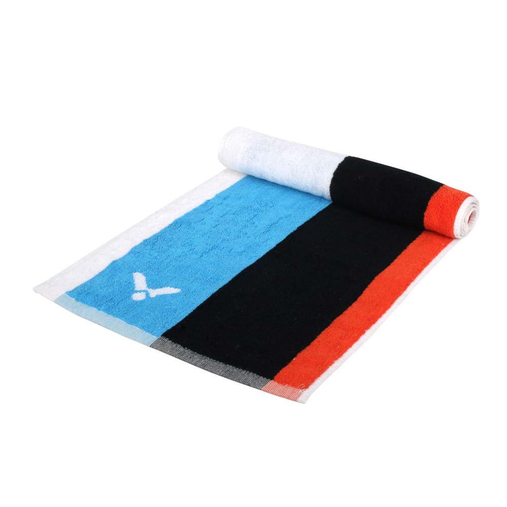 VICTOR CROWN COLLECTION運動毛巾-台灣製 純棉 游泳 勝利 戴資穎 黑白藍橘@C-4166@