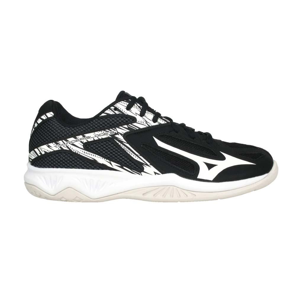 MIZUNO MIZUNO THUNDER BLADE 3 男女排球鞋(免運 2.5E 美津濃 黑白@V1GA217002@