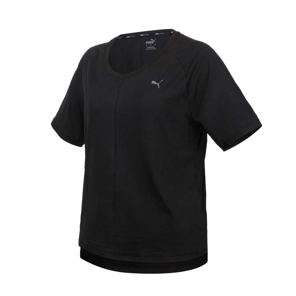 PUMA 女瑜珈系列STUDIO寬鬆短袖T恤-歐規 吸濕排汗 運動 上衣 黑@52109301@