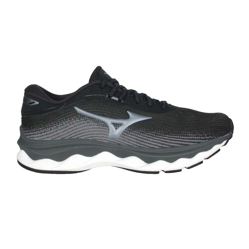 MIZUNO WAVE SKY 5 WIDE 女慢跑鞋-4E- 寬楦 美津濃 黑灰@J1GD211252@