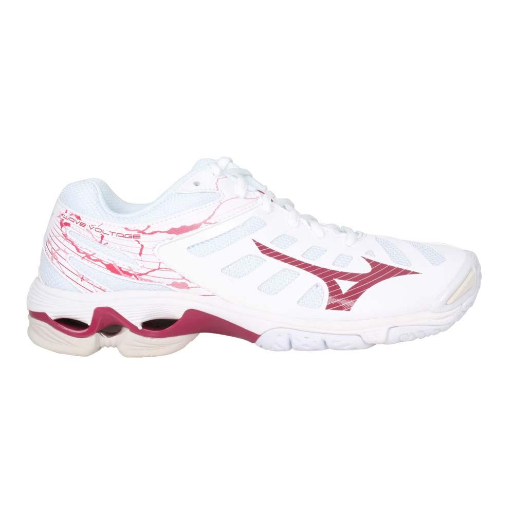 MIZUNO WAVE VOLTAGE 女排球鞋- 訓練 美津濃 白紅@V1GC216065@