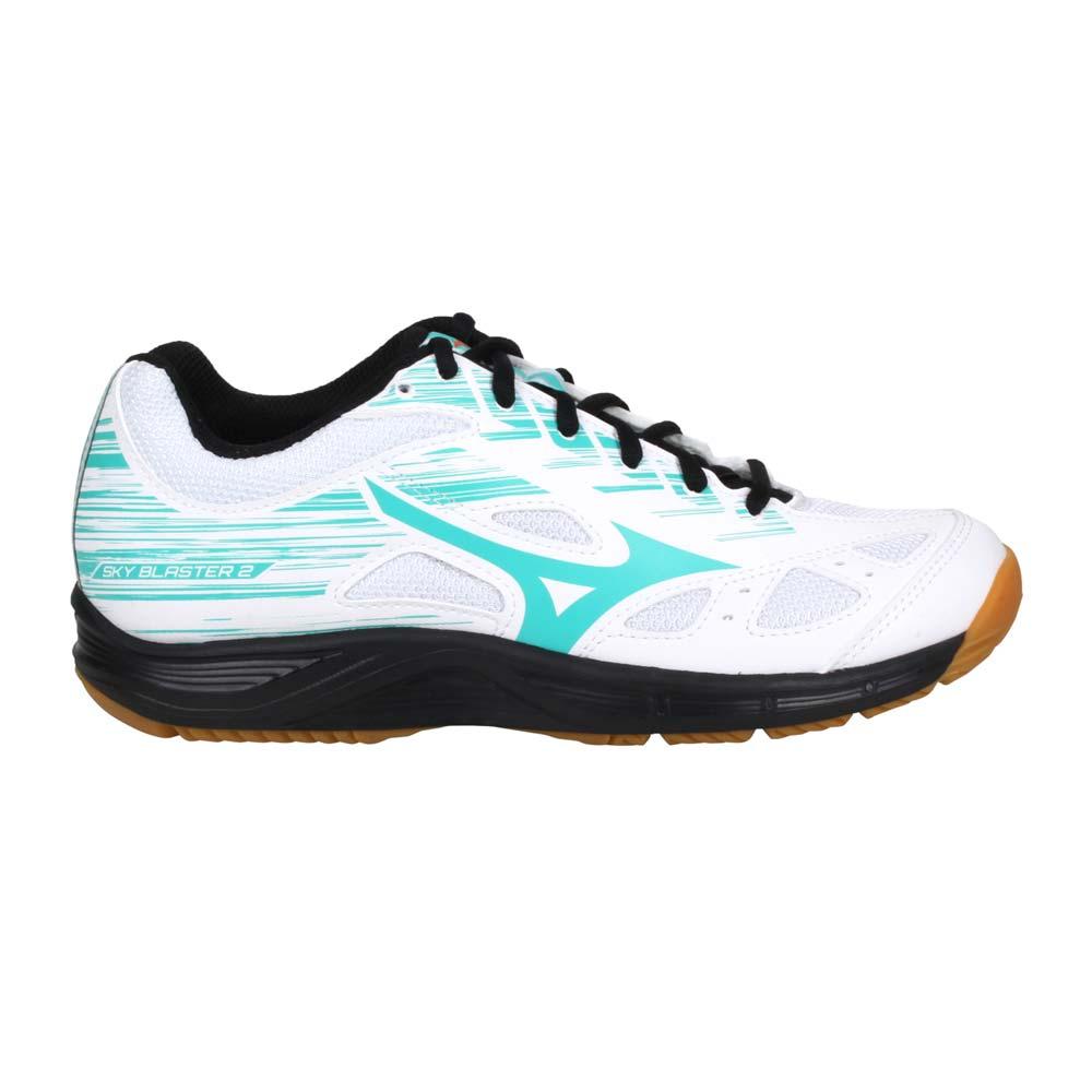 MIZUNO SKY BLASTER 2 女羽球鞋-運動 訓練 美津濃 白綠黑@71GA204534@