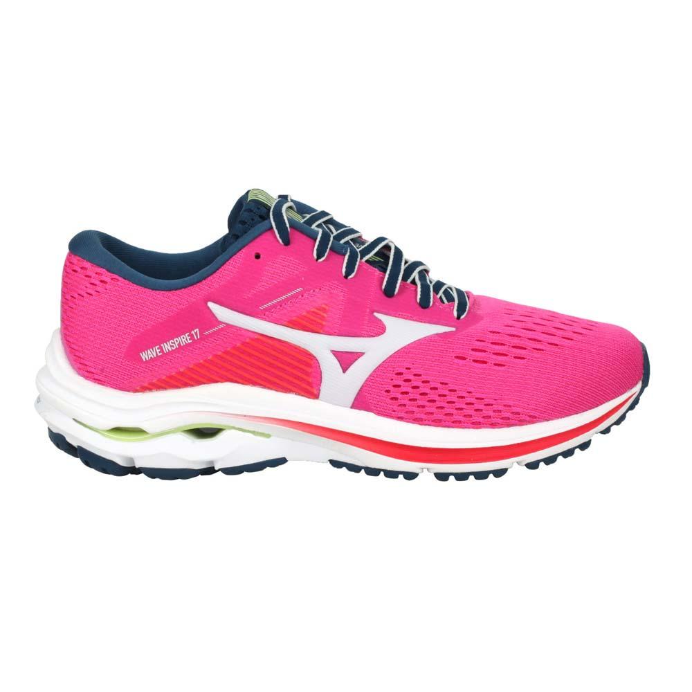MIZUNO WAVE INSPIRE 17 WIDE 女慢跑鞋-美津濃 桃紅綠@J1GD214633@