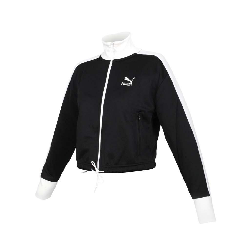 PUMA 女流行系列T7短版立領外套-歐規 休閒 慢跑 路跑 黑白@53162301@