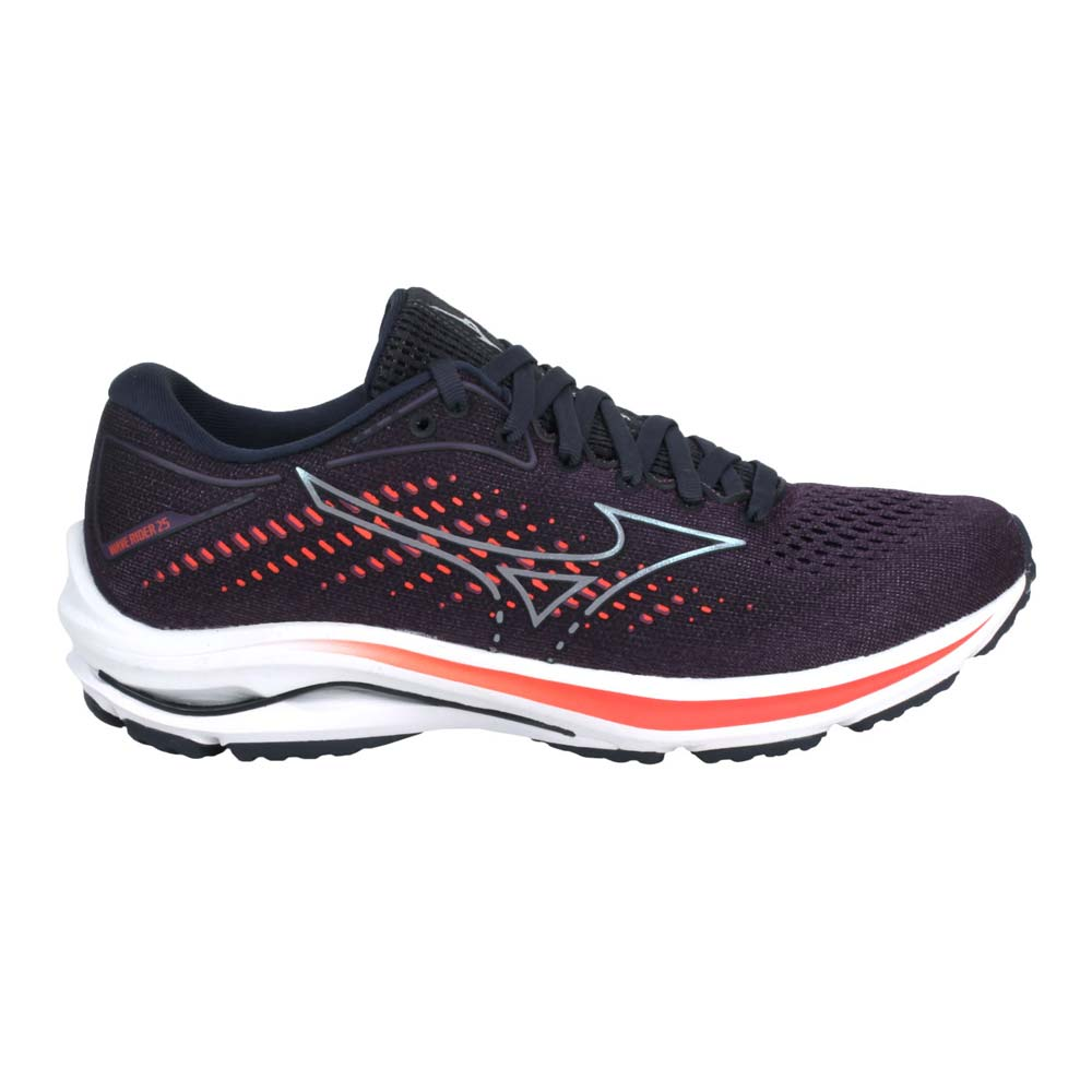 MIZUNO WAVE RIDER 25 女款慢跑鞋-路跑 美津濃 深紫橘@J1GD210358@