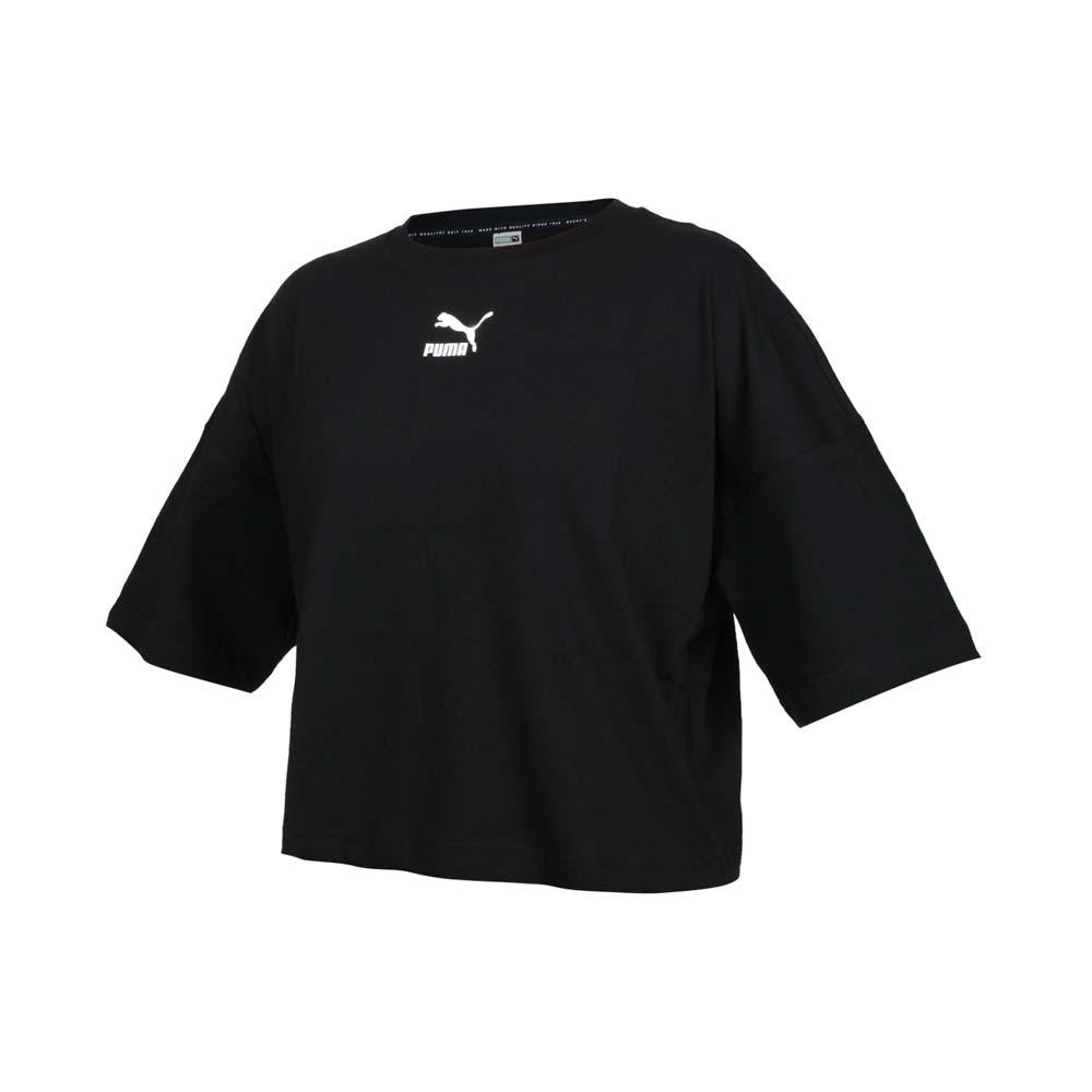 PUMA 女短袖T恤-歐規 純棉 慢跑 路跑 短版 上衣 黑白@53169601@