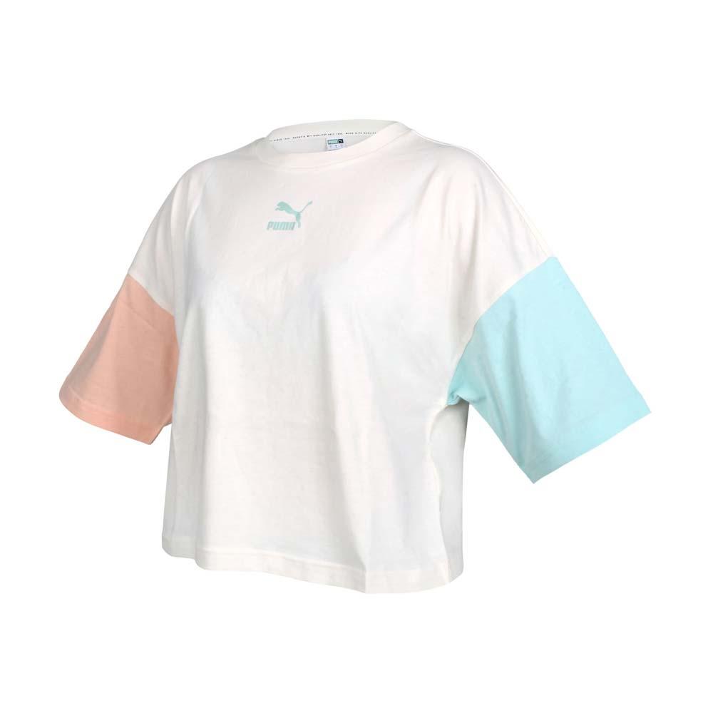 PUMA 女短袖T恤-歐規 純棉 慢跑 路跑 短版 米白黃橘綠@53169688@