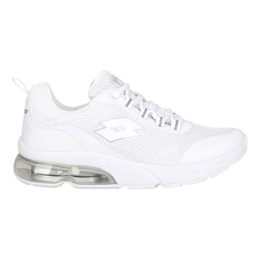 LOTTO 女AERO POWER II運動鞋-慢跑 反光 避震 氣墊 白銀@LT1AWR3909@