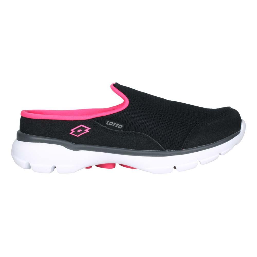 LOTTO EASY WEAR 女穆勒健走鞋-走路鞋 懶人鞋 黑亮桃紅@LT1AWX3700@