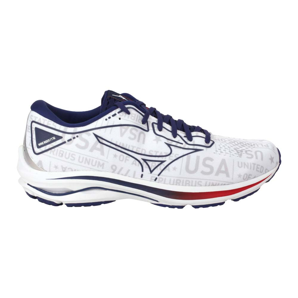 MIZUNO WAVE RIDER 25 女慢跑鞋-路跑 避震 美津濃 白藍紅@J1GD215219@
