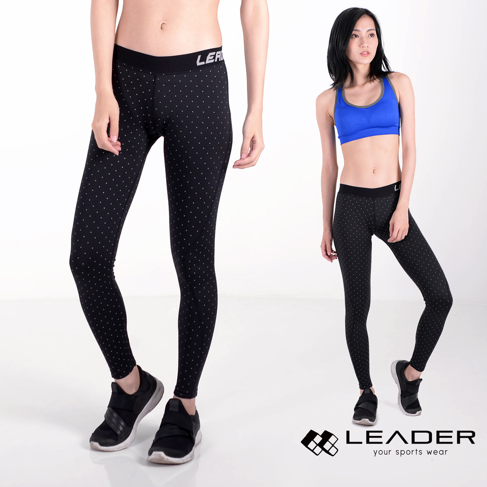 【Leader】女性專用 DotFit運動壓縮緊身褲(小點)