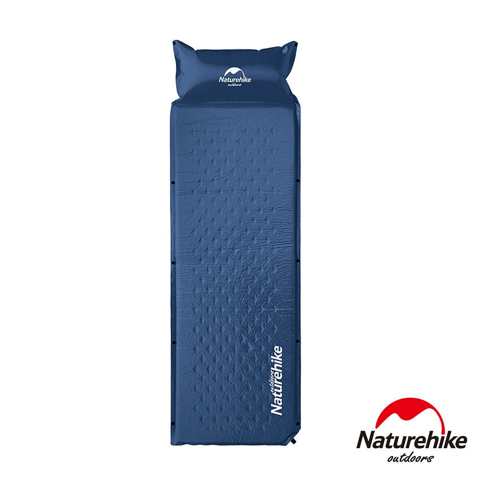 Naturehike 自動充氣 帶枕式單人睡墊 (深藍)