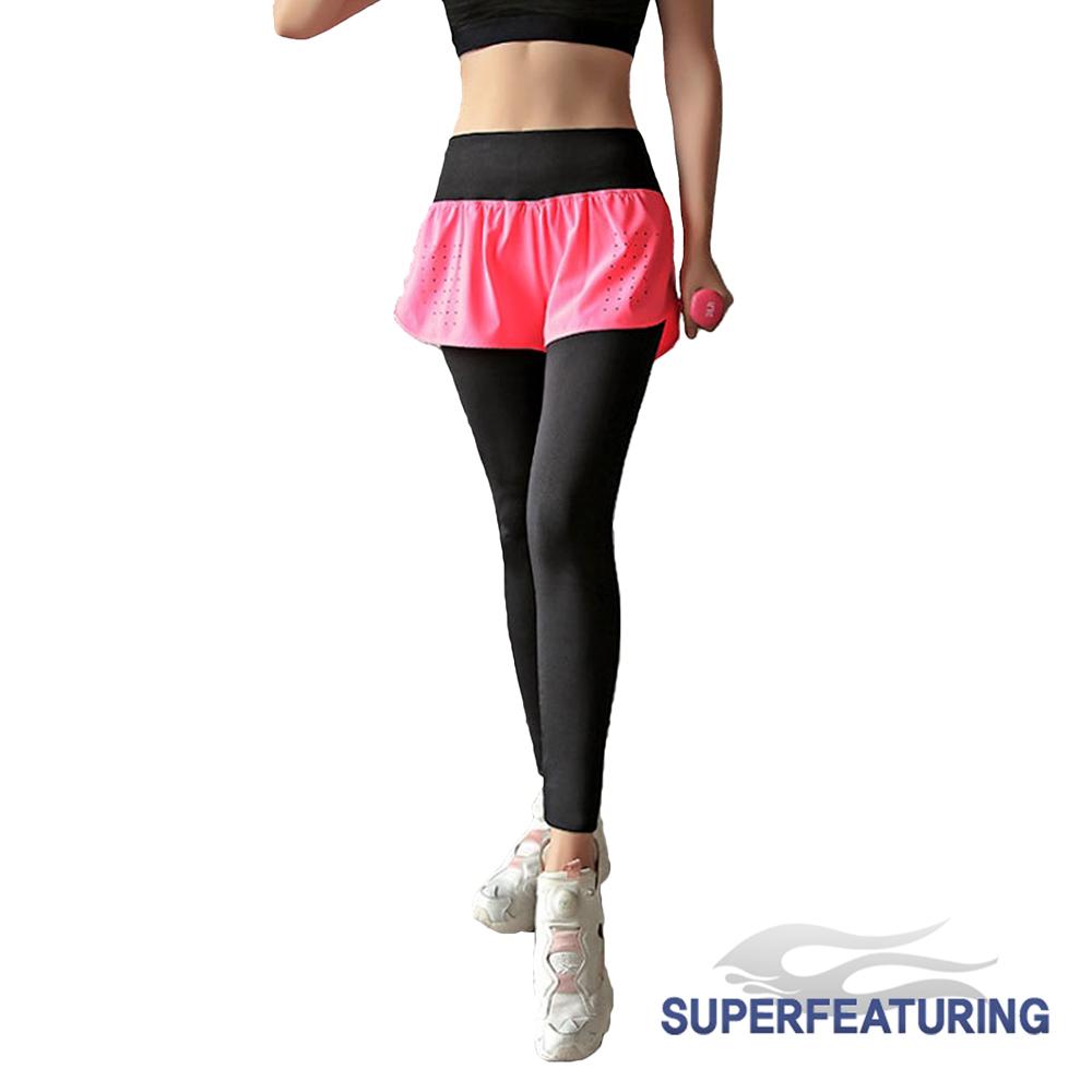 SUPERFEATURING  WPD-10靓色彈性透氣假兩件緊身褲 黑粉