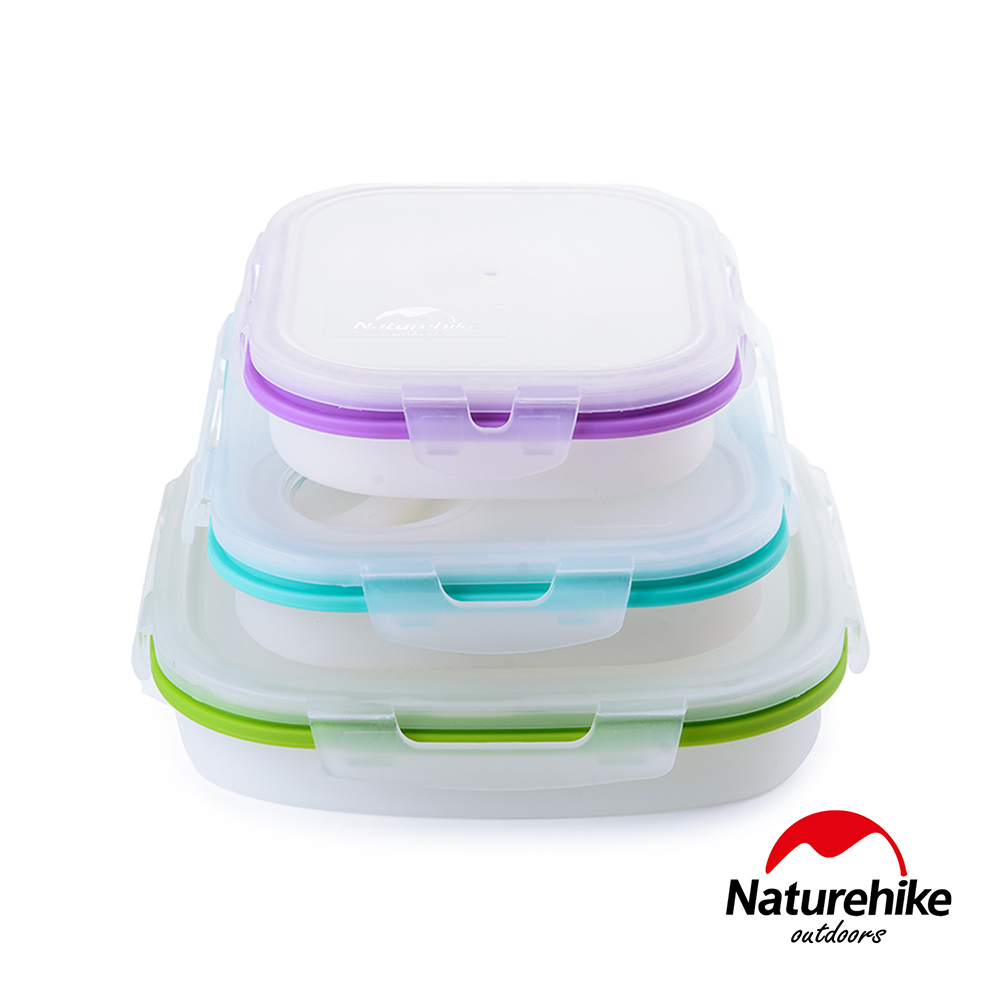Naturehike 可微波耐熱 折疊式密封保鮮盒 便當盒  方型中號+方型大號+雙格大號