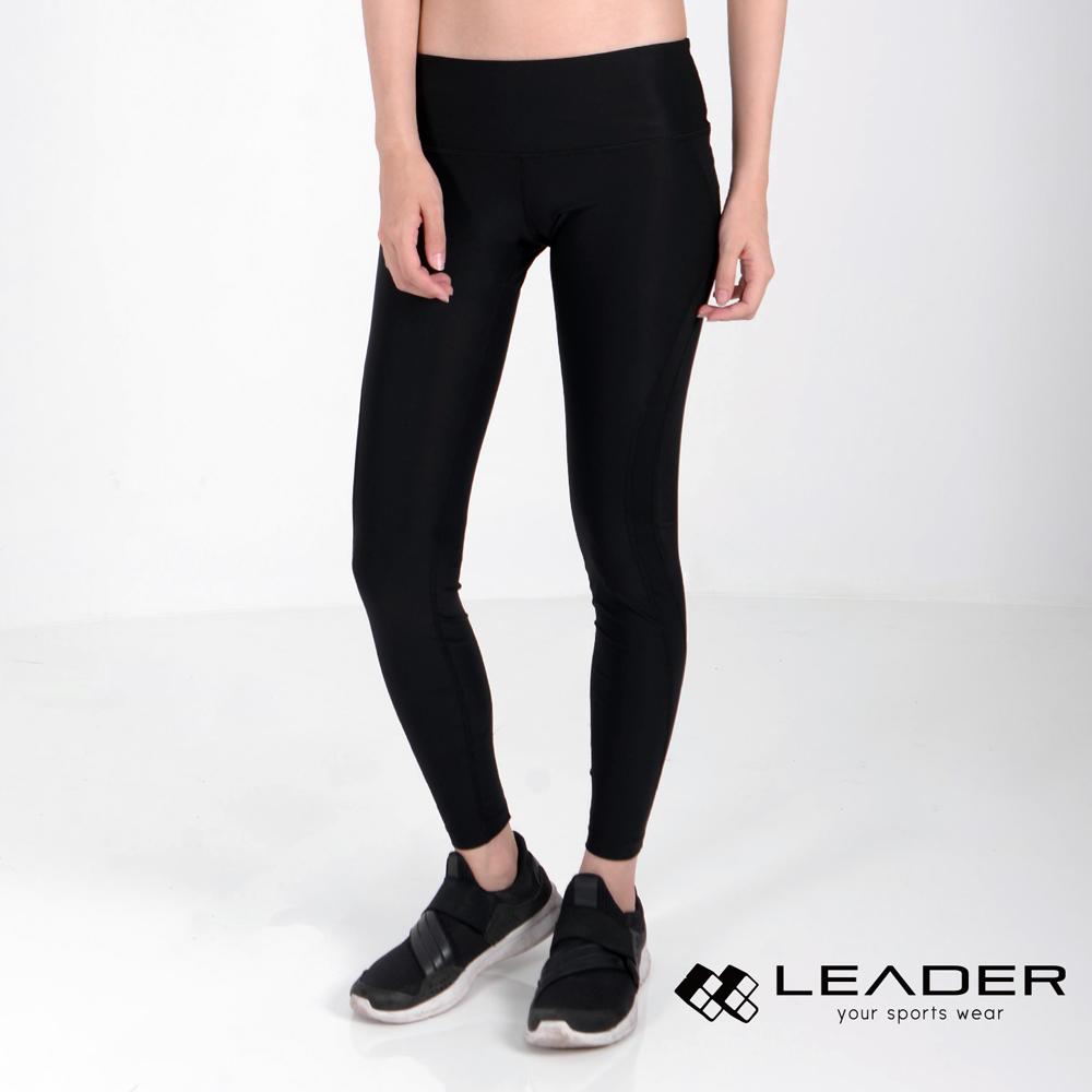 LEADER TN-363 高穩定壓縮運動長褲 九分褲 女款 黑底黑線