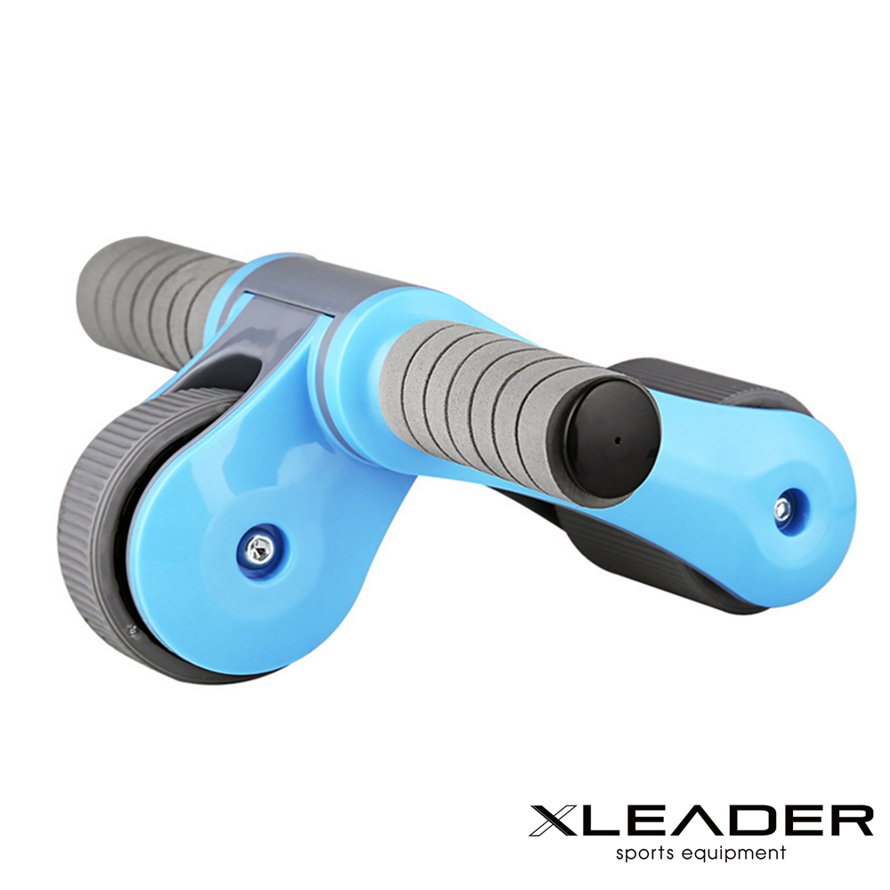 Leader X  雙輪軸承 折疊式滾輪健腹器 健美輪 藍色